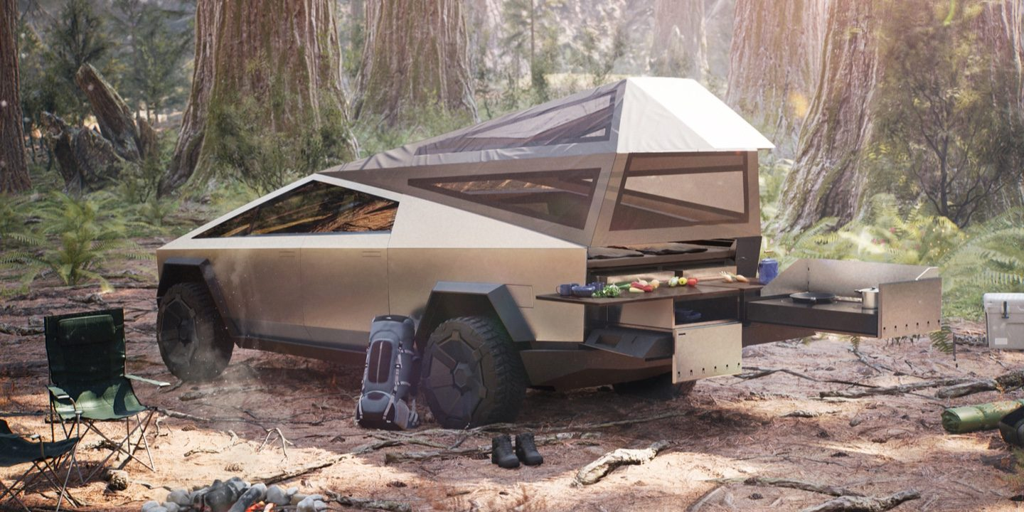 Tesla Cybertruck's bed accessible from 2nd row, making a great camping machine – Electrek