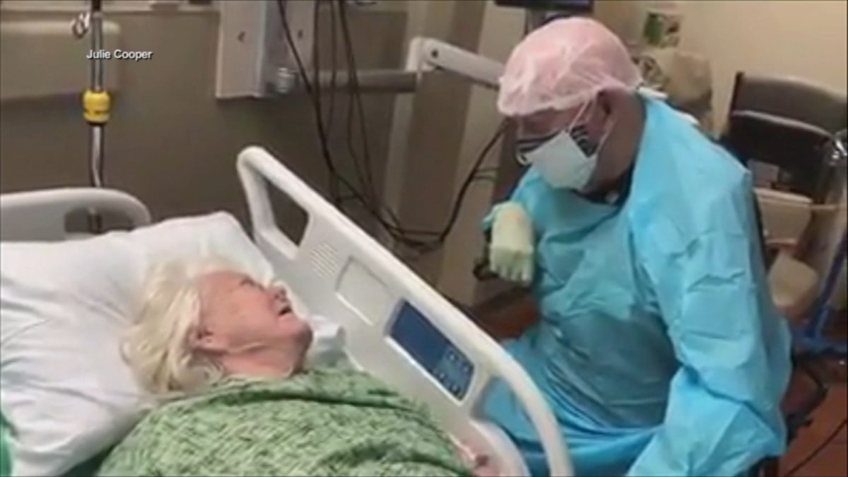 Touching video shows 90-year-old man saying final goodbyes to wife with COVID-19 – WLS-TV